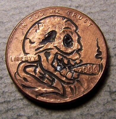 "Classy Hand Carved Original Hobo Nickel, Coin Art, "" Ol  Silvertooth .."""