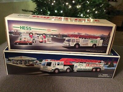 LOT OF 2 HESS TOY FIRE TRUCKS 1989 and 2000, BOTH TRUCKS ARE MINT IN N/M Boxes