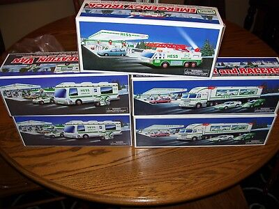 lot of 5   HESS TRUCK  AND 1996 ladder rescue and 1998rec van1997 race hauler