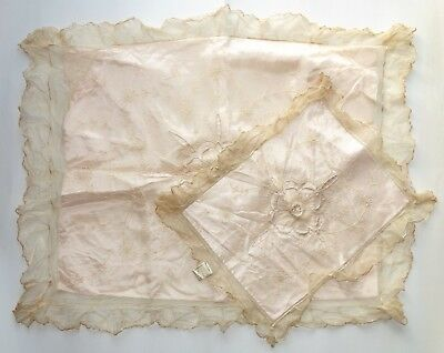 2 - Antique victorian Net Lace Pillow Covers with Satin Inserts Has Czech Tag