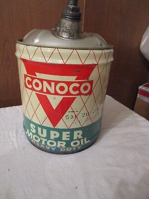 Vintage Advertising Conoco 5 Gallon Motor Oil Can With Pour Spouts