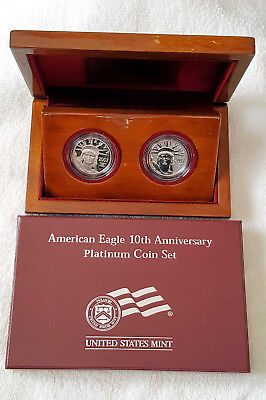 United States 2007 American Eagle 10th Anniversary 2 Coin Platinum Proof Set