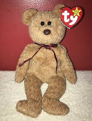 Rare TY Curly Brown Bear Beanie Babies Errors Original Mint Retired