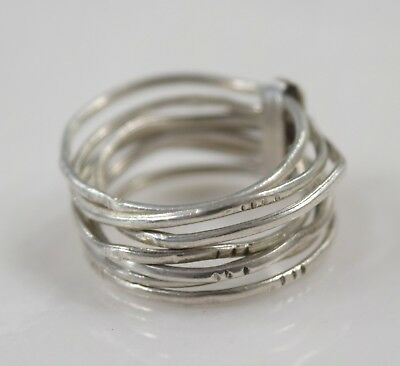 Retired  Sterling Silver 925 Seven Days Stacked Rings sz 7   4.5 g
