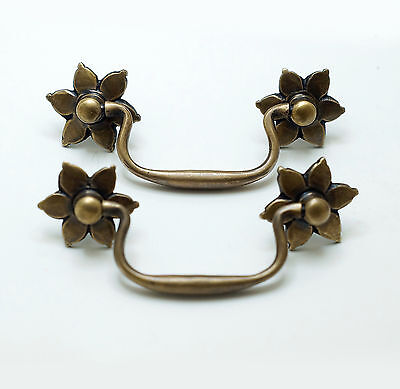 """4.60"""" Set of 2 pcs Vintage Flowers Handle Solid Brass Cabinet Drawer Handle Pull"""