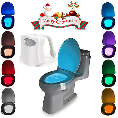 Toilet Night Light 8 Color LED Motion Activated Sensor Bathroom bowl Seat Lamp