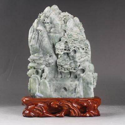 Exquisite 100% Natural dushan Jade Hand Carved Trees and man statue xd122