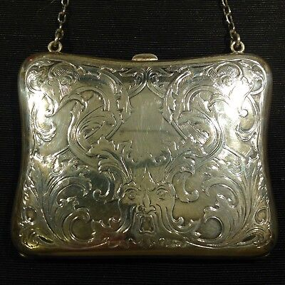 Beautiful Antique Art Nouveau Sterling Silver Purse North Wind Leather Lined