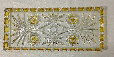 ♡ Free Post Vintage Cut Glass Large Dressing Table Oblong Dish Citrine Yellow