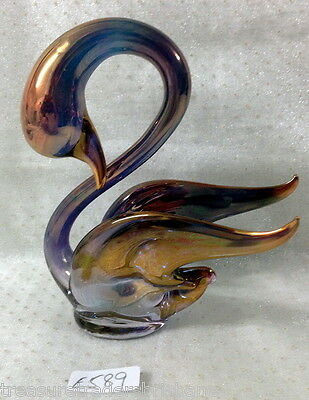 ✿•*¨*•✿ GORGEOUS EXQUISITE 11cm tall SWAN FIGURINE GOLD & BLUE VARIATION GLASS