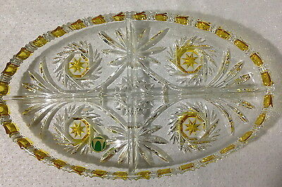 ♡ Free Post Vintage Cut Glass Large Dressing Table Oval Dish Citrine Yellow