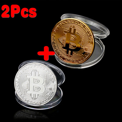 2Pcs BITCOIN!!! Gold & Silver Plated Physical Bitcoin With acrylic case