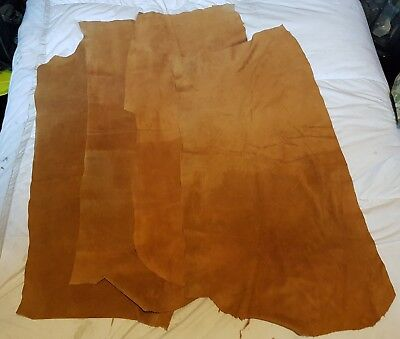 Large Suede Leather pieces x 4 qty. 110cms x 55cms approx. Medium Brown colour