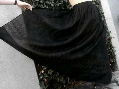 Lovely Antique Victorian Apron Black Batiste w Broderie Anglaise Hand Embroidery