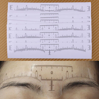 50Pcs Disposable Eyebrow Stencil Ruler Sticker Tattoo Microblading Measure Tool