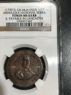 Gr. Britain 1790's 1/2 Penny Token-Ngc Ms 63 Rb- Middlesex-National Series