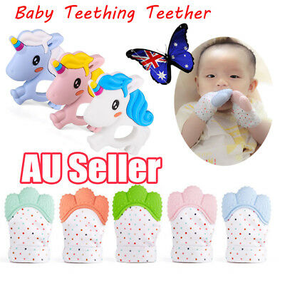 NEW Silicone Baby Teething Glove Nursing Teether Can Make Candy Wrapper Sound EA