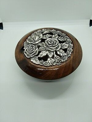 Hand turned Handmade Walnut Wood potpourri pot with pewter lid