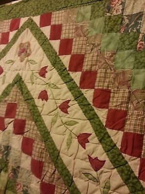 "Vintage Trip Around the World Cutter Quilt approx. 81"" by 84"" Blocks Patchwork"