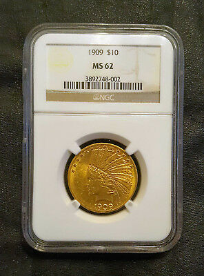 1909 $10 GOLD Indian Head Coin MS 62 NGC
