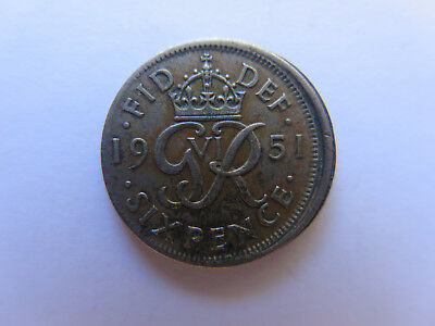 Error Coin 1951 Great Britain 6 Pence Mis Strike Off Centre England