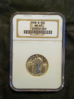 1928-S Silver Standing Liberty Quarter Ngc Ms 65