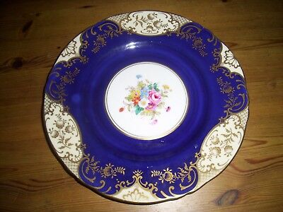 Vintage Crown Staffordshire Blue & Gold China Tea Plate 9inch