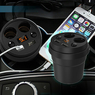 1x Car 3.1A 2USB Cup Charger With Mount Holder +2Cigarette Lighter Port Charger