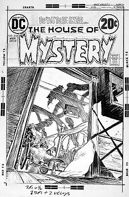 MIKE KALUTA - House of Mystery #212 cover - alien camp counselor attacks kid!