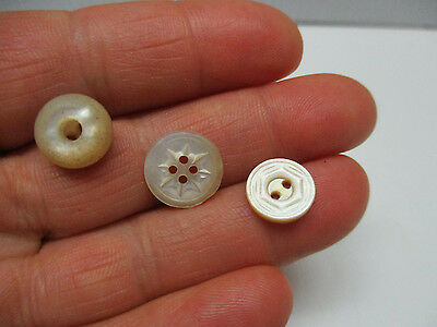 Beautiful Lot of 3 Miniature Antique/Vintage Carved MOP Shell  BUTTONS