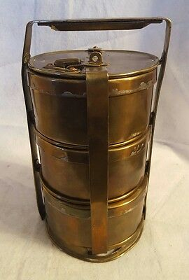 Vintage Indian 3 Compartment Brass Tiffin Carrier (Lunch Box) - Sanghvi Factory