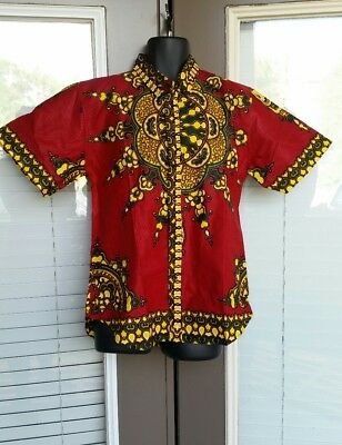 Ready to Wear Mens Shirt Cotton Dashiki African Clothing With Button Down Size L