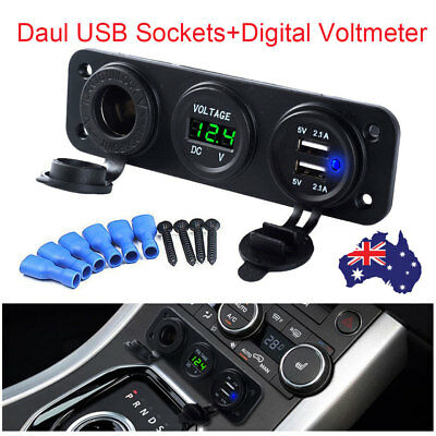 2.1A Digital Voltmeter Charger Dual USB Car Cigarette Lighter Socket Power 12V