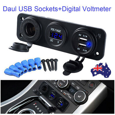 12V 2.1A Digital Voltmeter Charger Dual USB Car Cigarette Lighter Socket Power