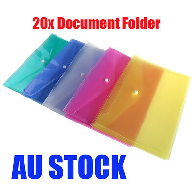20pcs A4 Plastic Document File Folder Wallet Pocket Envelope 4 Assorted Colours