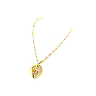 Auth Christian Dior Necklace CD Logo unisexused L788