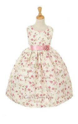 New Girls Pink Flower Print Jacquard Dress Easter Christmas Pageant ME736P C