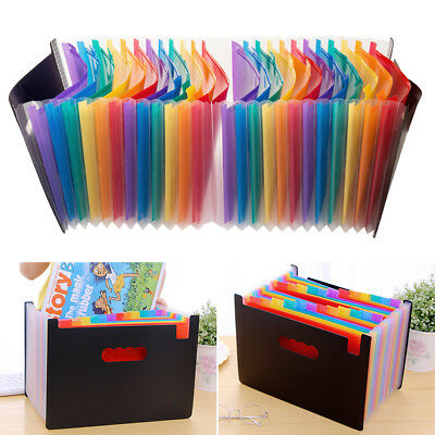 24 Pockets Expanding Box A4 File Folder Organiser Office Documents Case Colours