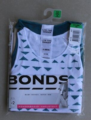 New Bonds Wonderbodies Singlesuit 2 Pack Soft Cotton Comfort Daily 0-3 Months