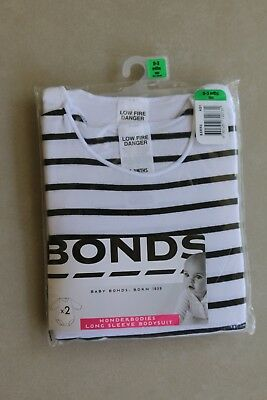 NEW BONDS WONDERBODIES BODYSUIT 2 PACK SOFT COTTON COMFORT Size 000 0-3M