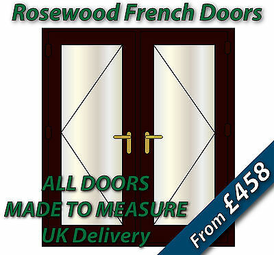 Rosewood uPVC French Doors / NEW / BRASS handles, GOLD spacer bars