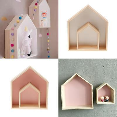 Two Sets Decorative Wall Shelf Wood Wooden for Baby Nursery Room White+Pink