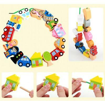 String Along Wooden Threading Lacing Beads Blocks Child Kids Learning Toys - FI