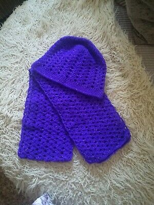 hand crocheted hat and scarf set