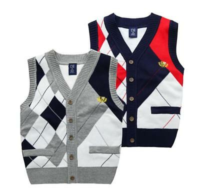Kids Boys V Neck Tank Top Knitted Sleeveless Sweater Vest Jumper School Uniform