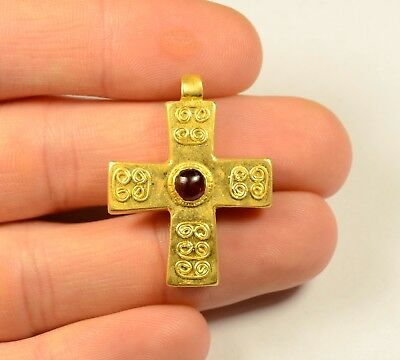 Amazing Medieval Gold Cross With Red Garnet Stone - Richly Decorated - Wearable