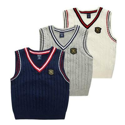 School Uniform Kids Boys V Neck Tank Top Knitted  Jumper Sleeveless Sweater Vest
