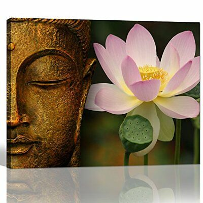 Buddha Lotus Flower Canvas Prints Wall Art Zen Painting Picture