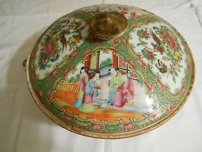 Chinese Export Rose Medallion Porcelain Late 19th Century Chamber Pot