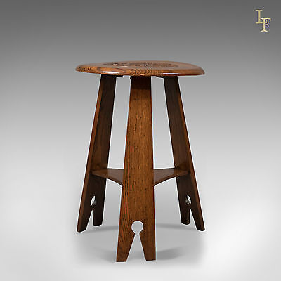 Arts & Crafts Side Table, Carved Oak, Victorian, English, 19th Century, c.1890,